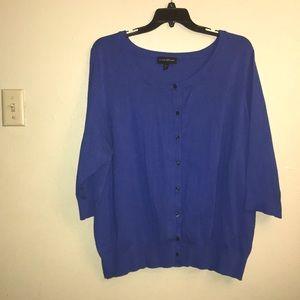 Lane Bryant,blue cardigan 3/4 sleeves.size 26/28.